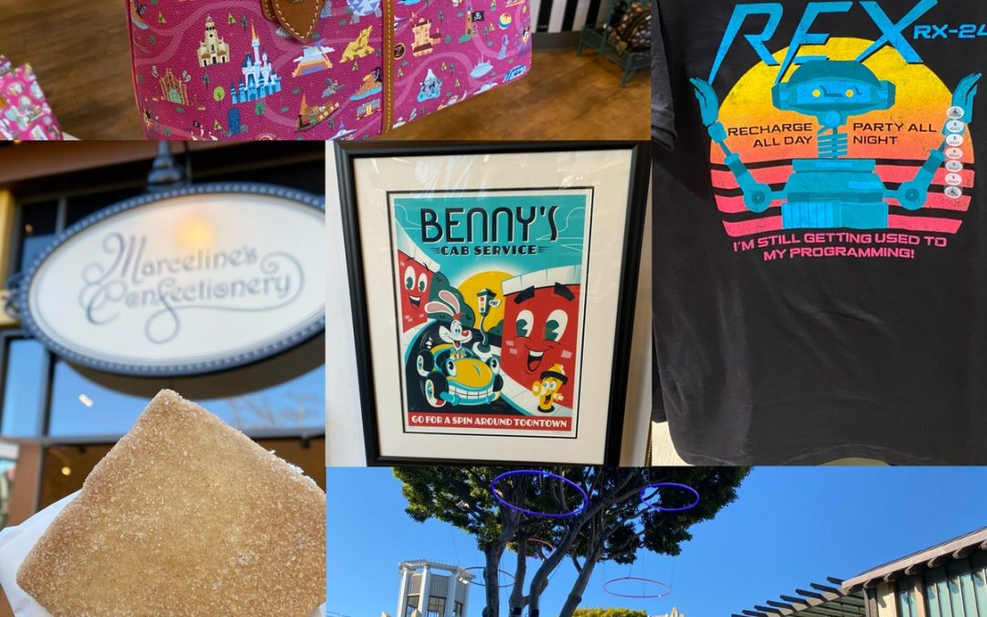 Reportage photo: Downtown Disney District 1/20/20 (nouveaux tee-shirts graphiques Disneyland, sacs Dooney & Bourke, construction Jamba Juice, Roger Rabbit Art, etc.)