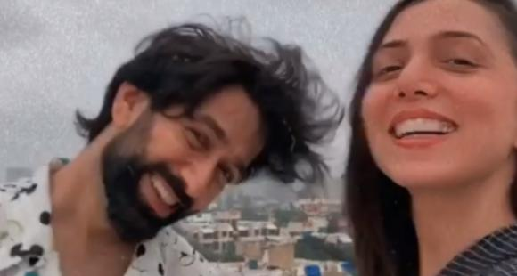 Nakuul Mehta and wife Jankee Parekh look ecstatic as they enjoy the windy weather in a new VIDEO