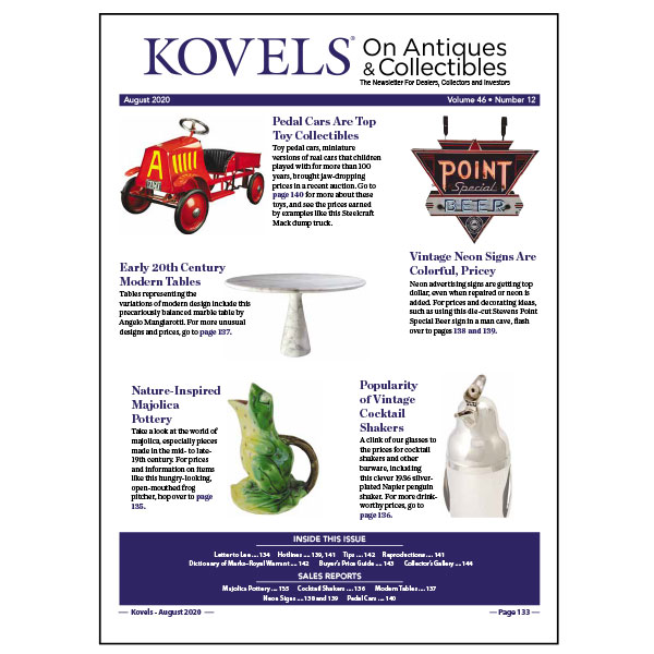 Kovels On Antiques & Collectibles Newsletter d'août 2020 disponible