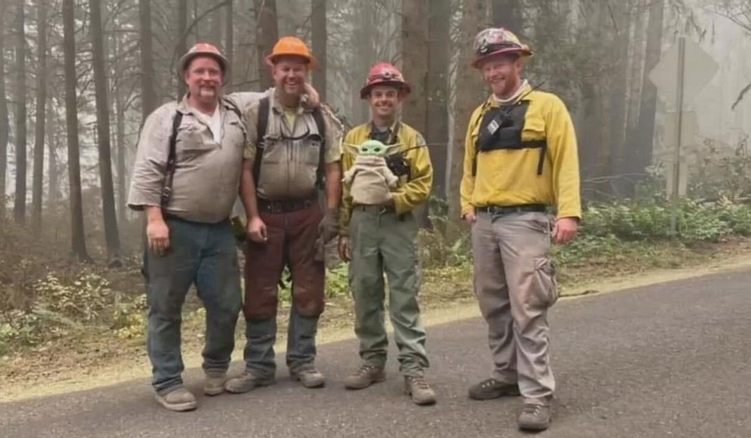 5-year-old boy sends strength to Oregon firefighters through Baby Yoda doll